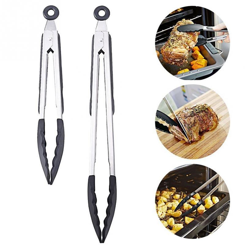 2PCS SET Kitchen Silicone Food Clip Grill Pliers Kitchen Quality Stainless Steel Roasting Clamp Thermal And