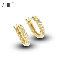 Fine Jewelry Round Shape 18K Yellow Gold Diamonds Hood Earrings