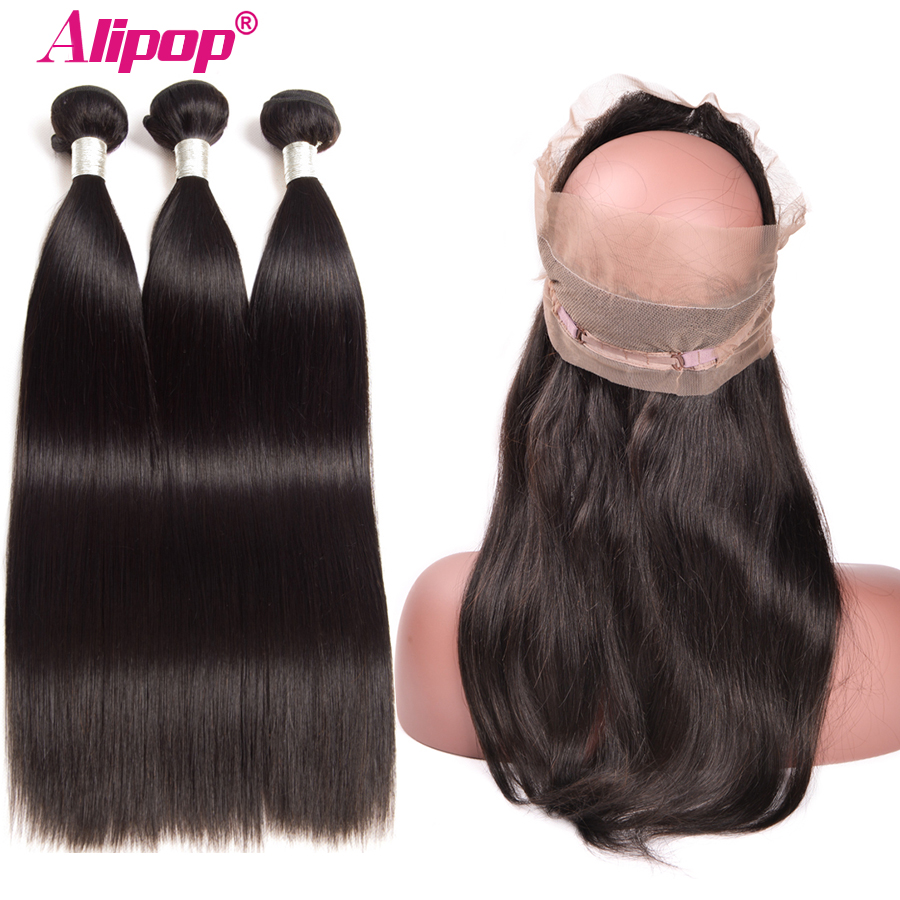 Brazilian Straight Hair 360 Lace Frontal Closure With Bundles Human Hair 3/2 Bundles With Closure Alipop Closure Remy 4/3PCS