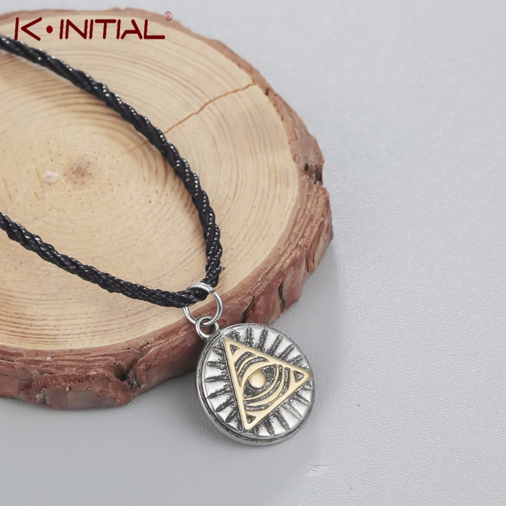 Kinitial Retro Mayan Pyramid Eye Mayan Icon Pagan Pendant Necklace