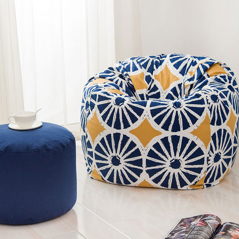 120x120cm Pattern Style Bean Bag Chair Garden Beanbag Covers Anywhere Portable Sitting Cushionthe Lazy Sofa Modern