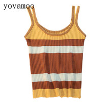 ФОТО yovamoo 2018 summer new striped color block slim crop top women short design knitted vests knit camisole