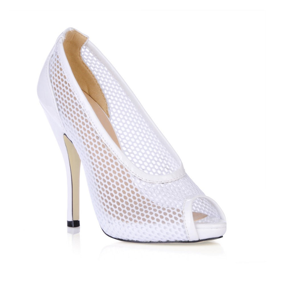 hot big size 35-43 women new fashion breathable mesh high heels sexy open toe summer dress pumps platform ladies shoes sandalias big size high heels round toe women platform shoes cool casual white lace wedge black creepers medium pumps mesh chinese fashion