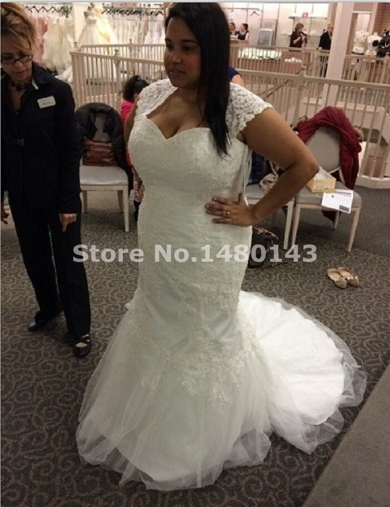 Robe De Mariage White Ivory Super Plus Size Mermaid Style Wedding Long Custom Lace Bridal Gowns With Jacket In From Weddings