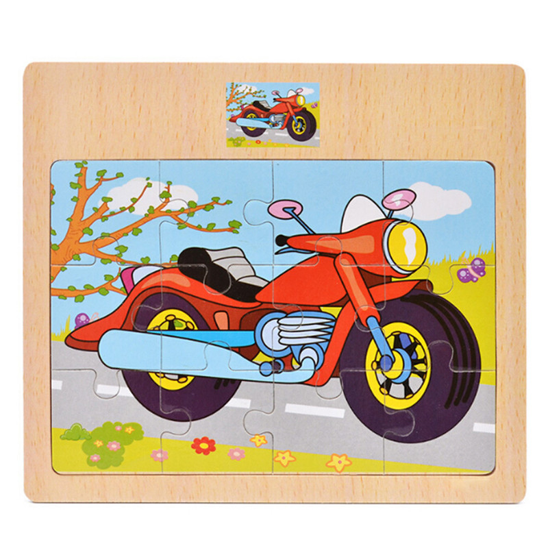Baby 12Pcs Cartoon Jigsaw Puzzle Wooden Toys Animal/Vehicle/Motorcycle Have Reference Photo Kids Educational Learning Gift