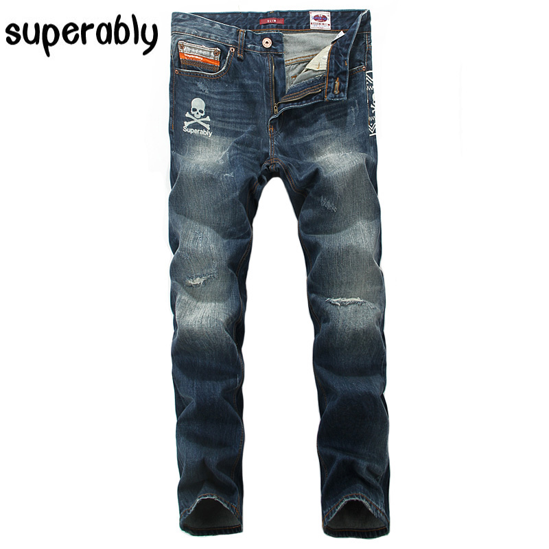 Skull Print Fashion Men Jeans High Quality Slim Fit Destroyed Ripped Jeans Mens Pants Superably Brand Clothing Denim Biker Jeans classic mid stripe men s buttons jeans ripped slim fit denim pants male high quality vintage brand clothing moto jeans men rl617