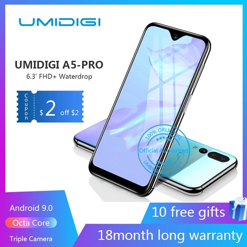 "UMIDIGI A5 PRO Android 9.0 Octa Core Mobile Phone 6.3"" FHD+ 16MP Triple Camera 4150mAh 4GB RAM 32G ROM Smartphone gsm unlocked"