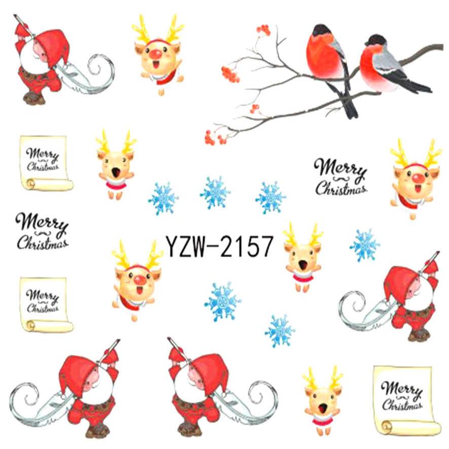 YZWLE 1 Sheet Christmas Bird Styles Nail Art Charm DIY Watermark Decals Nail Art Sticker NEW Polish Decor 2157