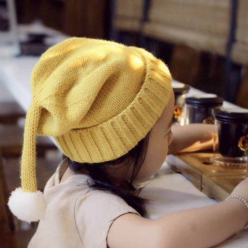Autumn and winter new hair ball knitted hat Fashionable cute boys and girls Christmas warmth beanies