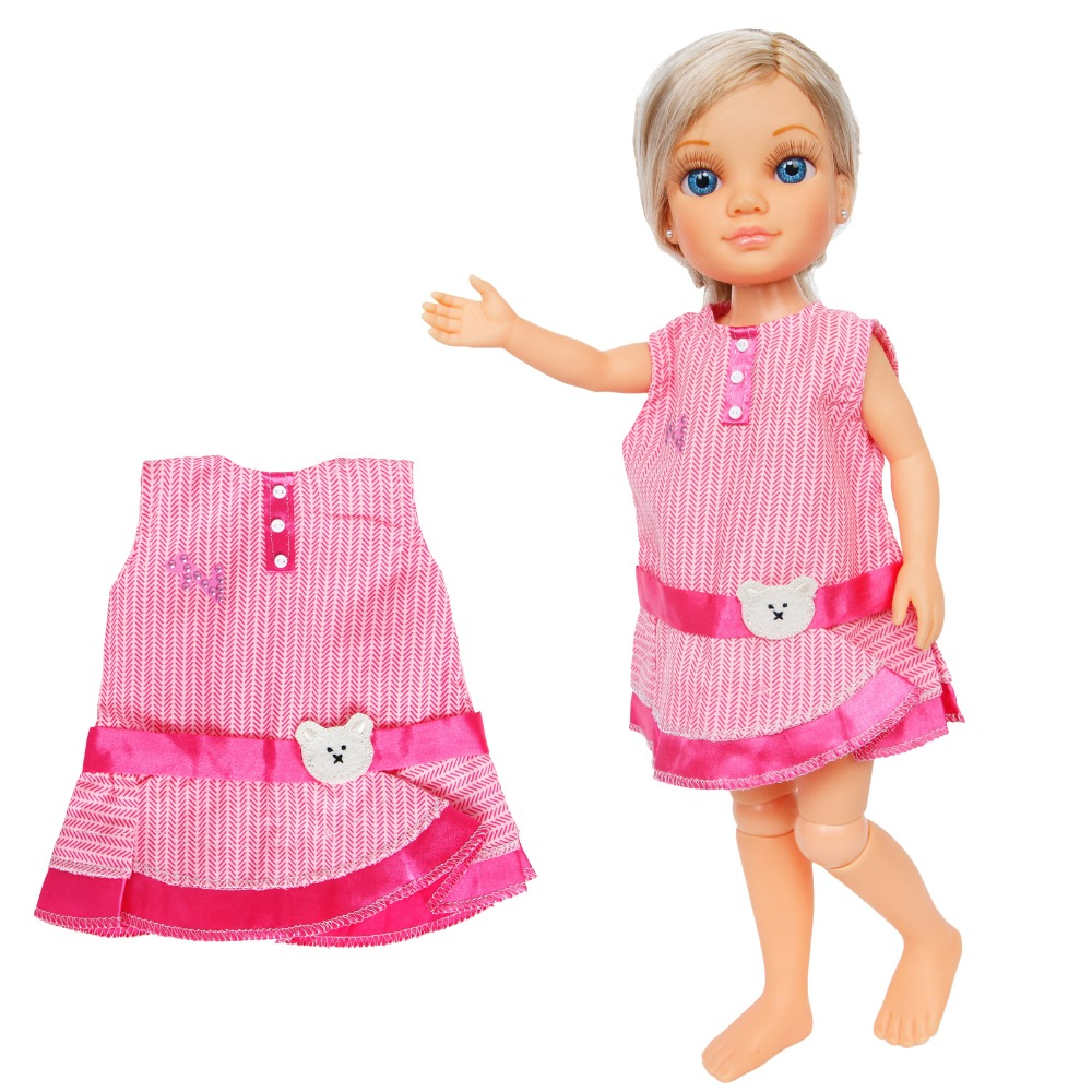1 Pcs Fashion Pink Dress Summer Skirt Daily Casual Wear Sleeveless Gown Clothes For Nancy Doll Accessories Kids Birthday Gifts