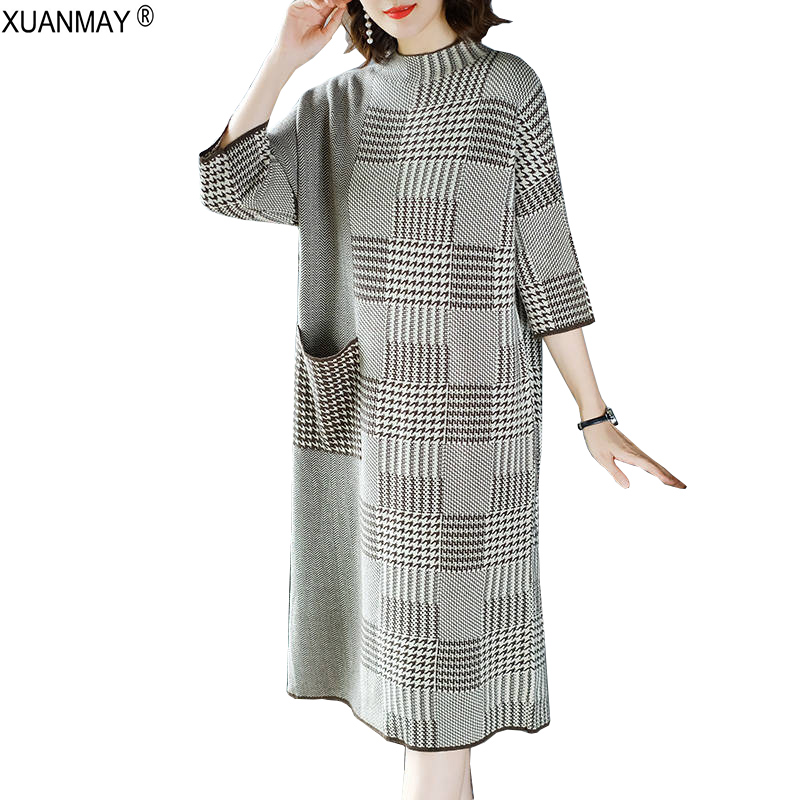 Elegant vintage autumn Long style Sweater dress 2018 Large size Houndstooth  Pattern Sweater More than knee length Long Sweater dbfbd2f36