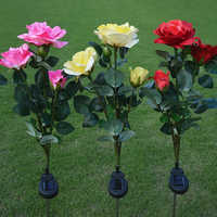 Outdoor Solar Powered LED Light Waterproof Rose Flower Stake Lamp Easy-to-Install for Home Garden Yard Lawn Path decorate