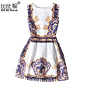 Summer Dress 2016 Dresses For Girls of 6-20 years Sleeveless Printed Big Size Princess Dress Teenagers Kids Clothes