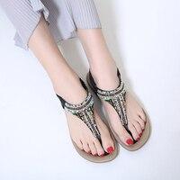 New 2018 Summer Shoes Woman Sandals Bohemia String Bead Comfortable Non Slip Soft Bottom Flat Women