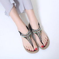 New 2018 Summer Shoes Woman Sandals Bohemia String Bead Comfortable Non Slip Soft Bottom Flat Women