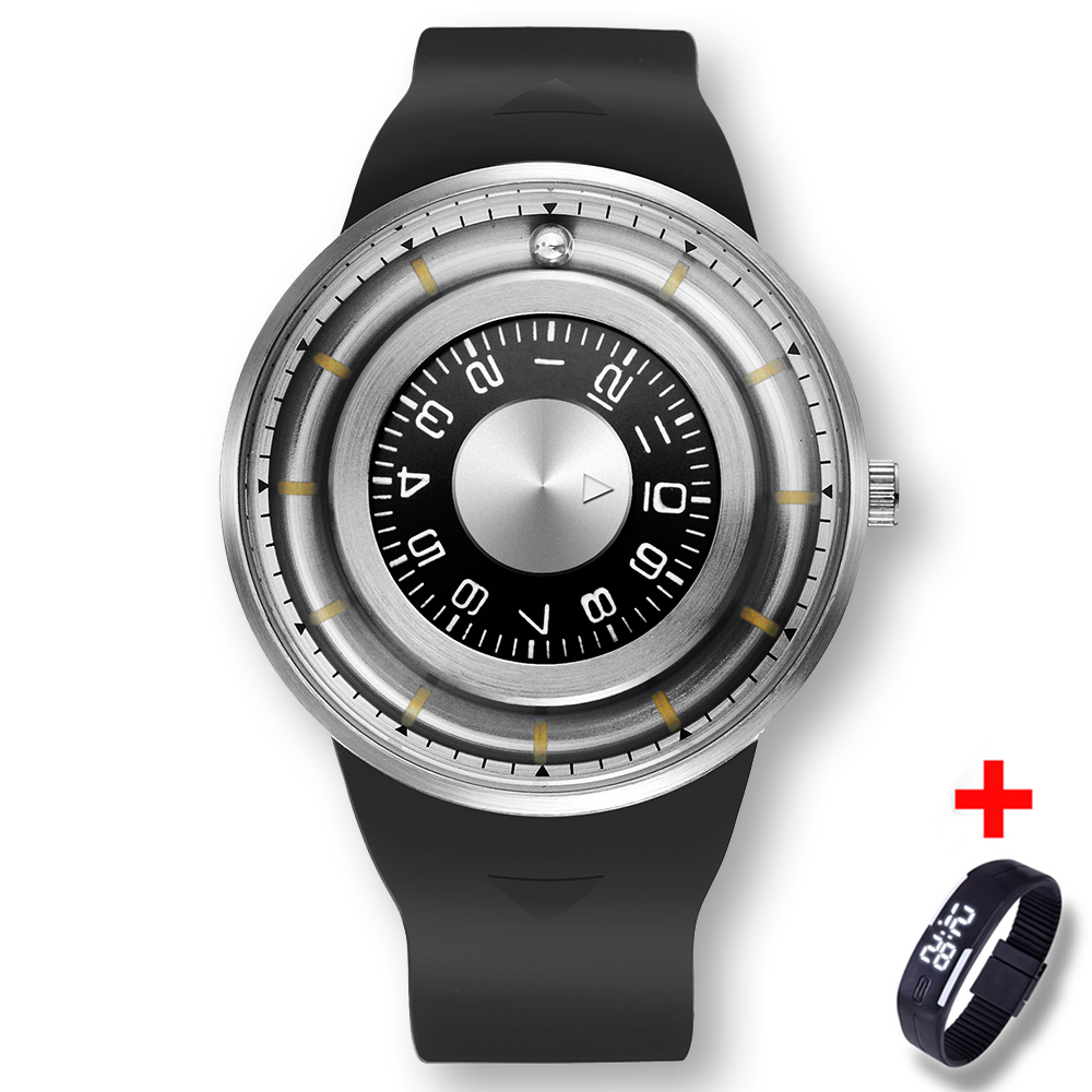 Super Creative Men Watch Fashion 3D Stainless Steel Dial Rotating Beads Silicone Wristband Watch Men Women Unique drop Shipping