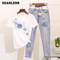 Twopiece Set Women Summer Embroidery Three dimensional Flower Short sleeve T shirt + Break Holes Pencil Jeans Suit Girls Lady