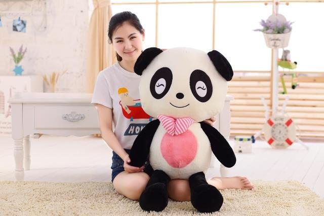 new creative lovely plush Squinting panda toy bow smile panda doll gift about 100cm new lovely plush panda toy stuffed sitting panda doll gift about 60cm