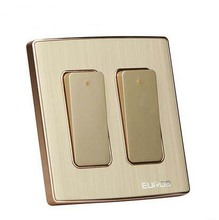 Wall Switch Socket Magnesium Aluminum Brushed Champagne Gold Panel 2 Gang 1 Way Switch, AC 220-250 10A