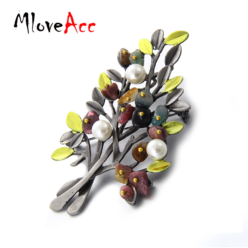 MloveAcc Vintage Natural Stone Brooch Pendant Retro Tree Shape - Fashion Jewelry - Photo 3