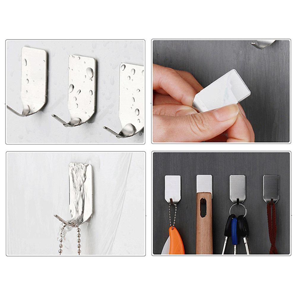 Image 5 - Hot Sale 8 Pieces /Set Stainless Steel 3M Self Adhesive Sticky Hooks Wall Storage Hanger New Wholesale Dropshopping Support-in Hooks & Rails from Home & Garden