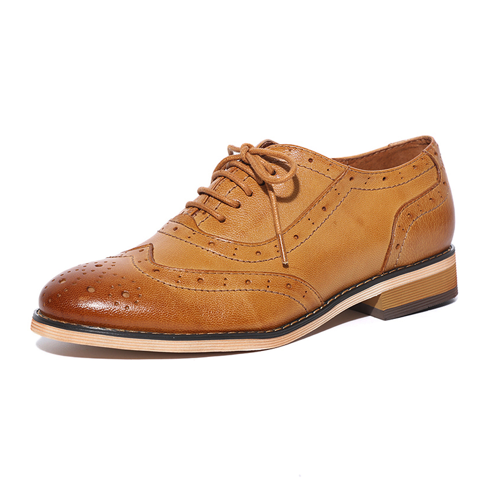 Women Flats Oxfords Shoes 2018 Vintage Brand Genuine Leather Women Lace-up Casual Brogue Shoes for Women Handmade Shoes A068-1 2018 vallu women brogue shoes wingtip perforated round toes lace up genuine leather vintage oxfords women flats shoes plus size