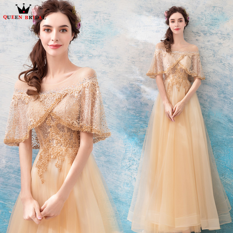A lin Cape Lace Beading Pearls Formal Gold Luxury Long Evening Dresses 2018 New Party Dress