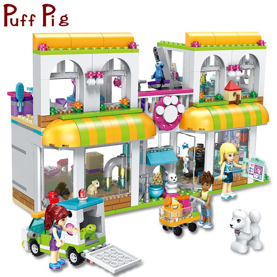 491PCS Girls Friends Pets Center Puppy Hospital Building Blocks Figures Compatible Legoed City Street Creator DIY Toys For Kids 4002pcs best large building blocks sets city street center rally square compatible legoinglys creator technic toys for children