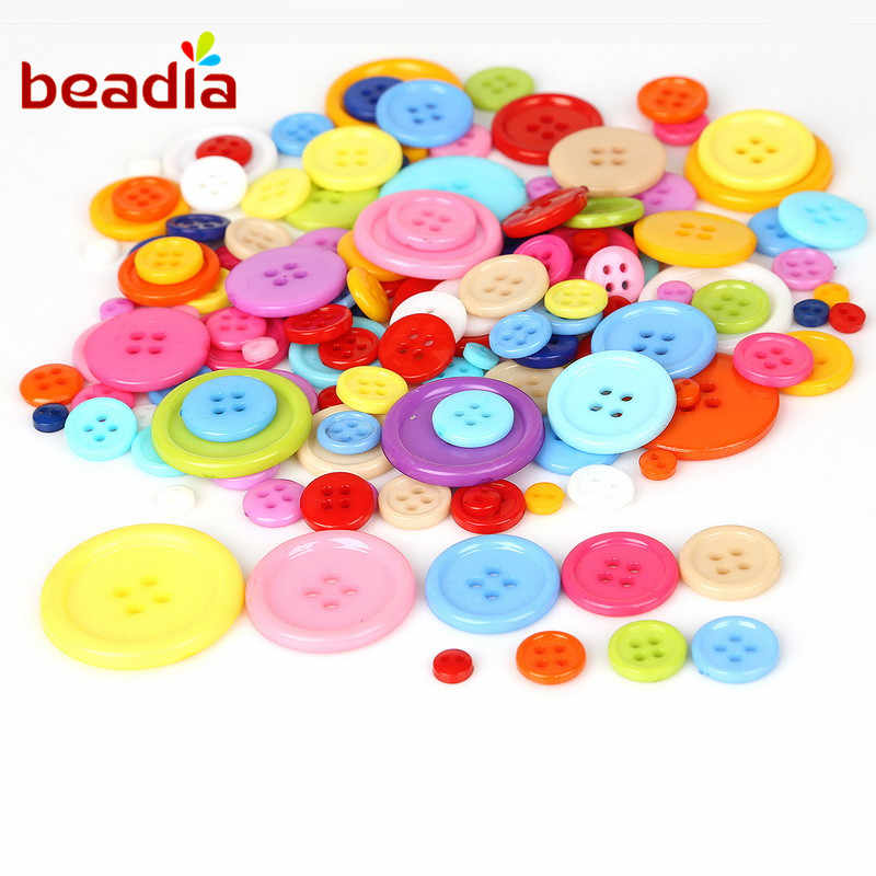 100pcs4 Holes Buttons  Mixed Size And Color Round Resin Sewing Button For Scrapb