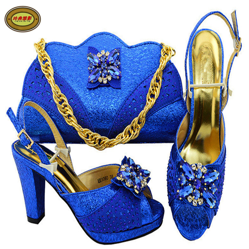 MM1060 RoyalBlue Hot Sale African Wedding Shoes Pumps And