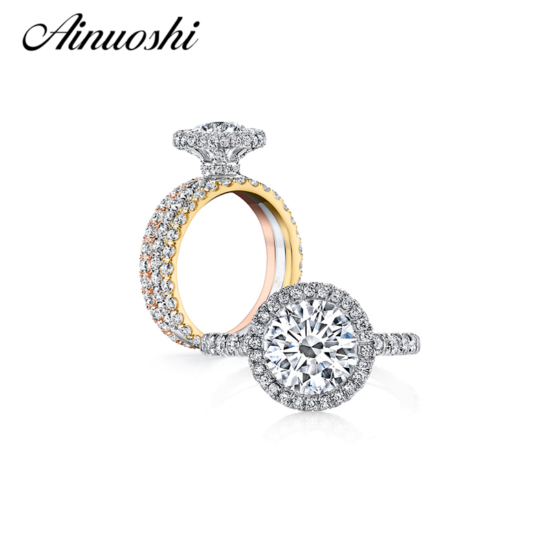 Round Cut Engagement Rings Set for Women Carat SONA NSCD Diamond Sterling