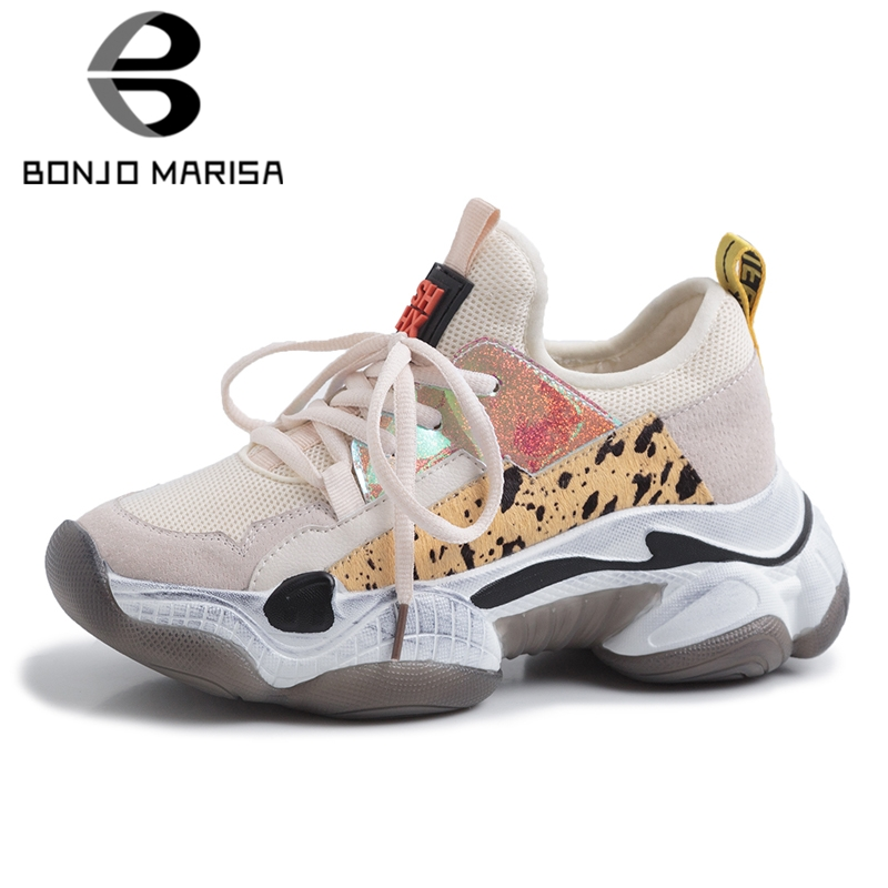 BONJOMARISA 2019 nouvel été INS Hot femmes chaussures de sport en crin de cheval en cuir de vache daim grande taille 35-42 femmes plate-forme chaussures femme