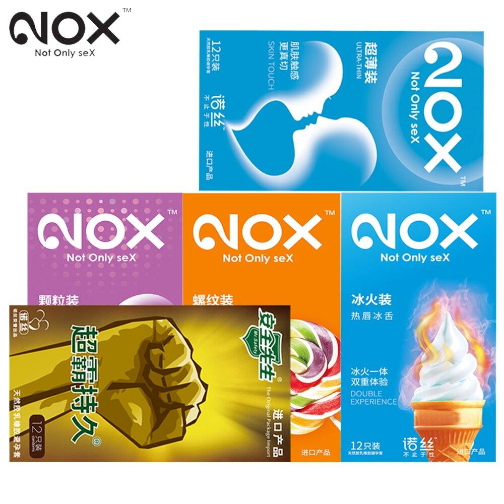 60Pcs/lot Original NOX Natural Latex Condoms Delay Ejaculation Intimate Products for men Reusable Condoms Toys Sex Products
