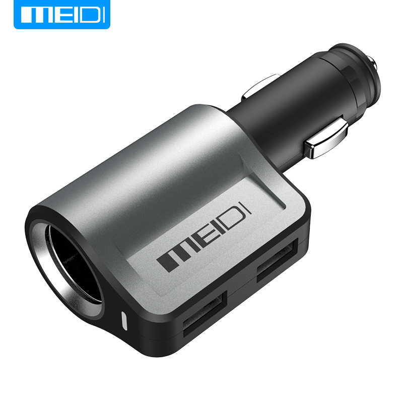 MEIDI Car Charger USB Car in Mobile Phone Chargers 2.1A and 1A 2 Port+40W Cigarette Lighter Adapter Charger Car in Mobile Phones