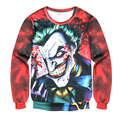2016 Newest  the Joker 3d print funny comics character joker with poker Men/Women's 3d Hoodies Tie-dye Harajuku Sweatshirts