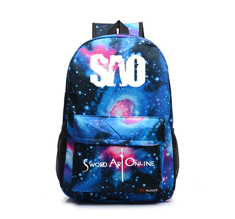 sword art online backpack japan anime printing school bag for teenagers cartoon travel bag nylon mochila galaxia ctt186