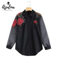 AZULINA Floral Embroidery Blouse Shirt Women Rose Applique Organza Panel Shirt Casual BF Blouse Blusas Long