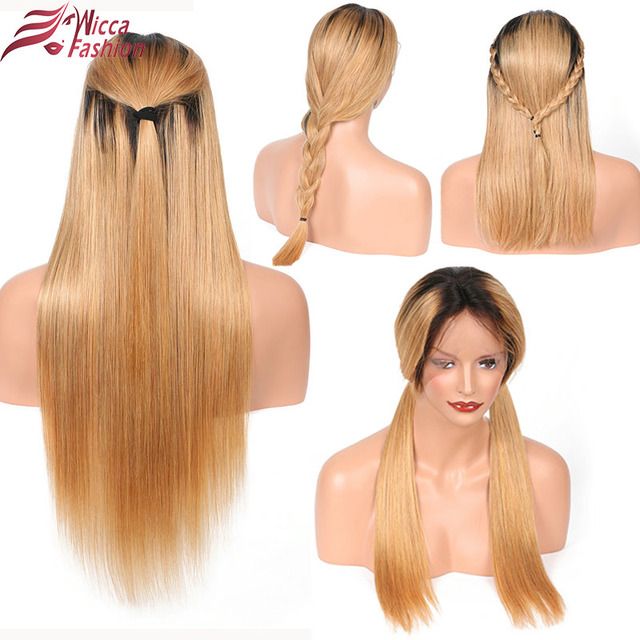 Dream Beauty ombre brazilian hair lace front wig 1b/27 Remy straight 13×6 Deep part Human Hair Wigs With Baby Hair
