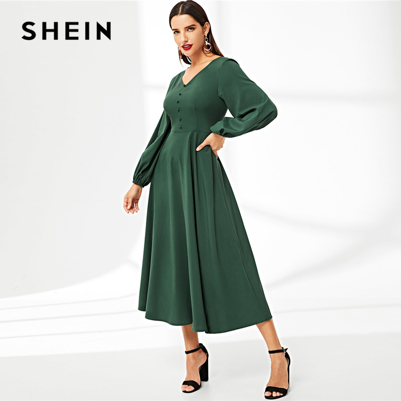 SHEIN Abaya Green V-Neck Button Detail Lantern Sleeve Solid Long Dress A-Line High Waist 2019 Vintage Autumn Women Dresses