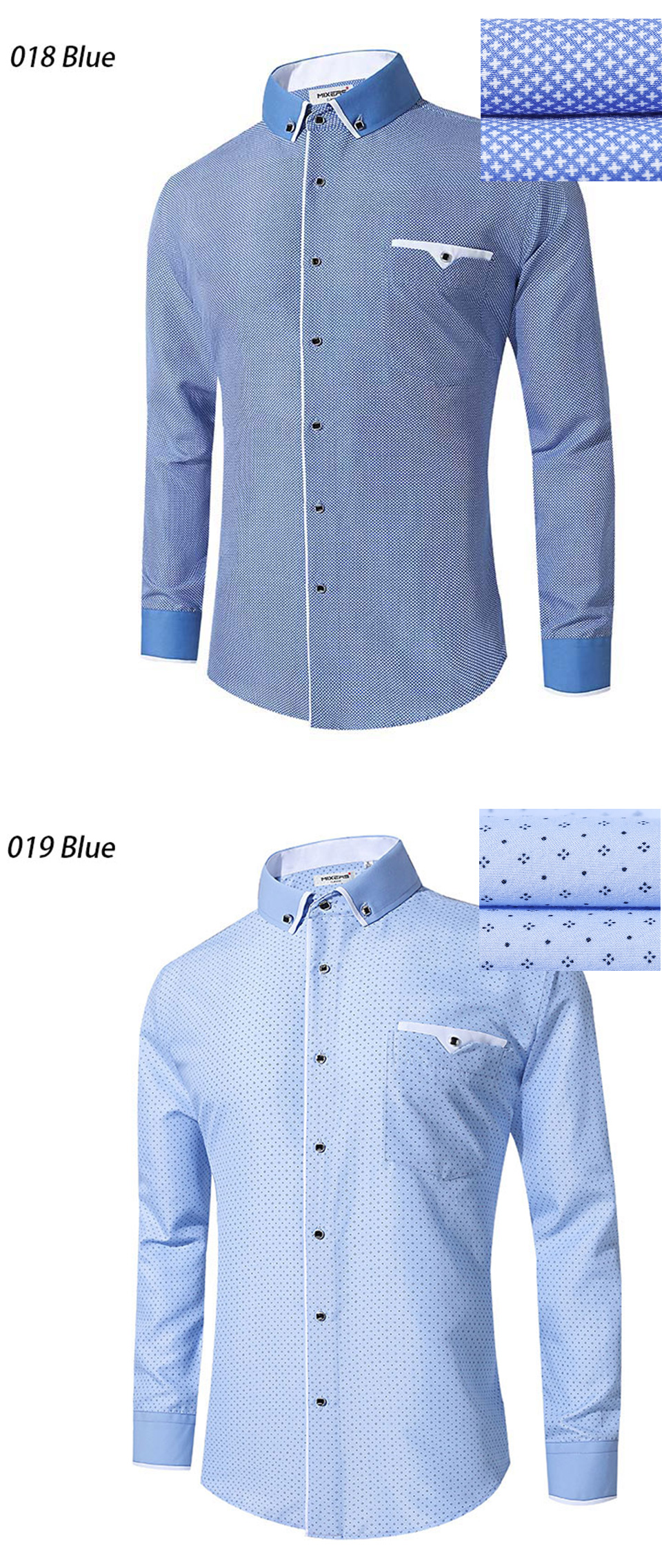 2018 Brand Blue Printed Dress Shirt Men Long Sleeve Big Size Combed