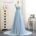 Dressgirl 2017 Vestidos Formales de La Celebridad A-line V-cuello Barrer de Tren Gasa Azul Cielo Sin Respaldo Famosos Vestidos de la Alfombra Roja