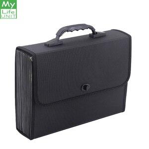 Image 1 - MyLifeUNIT 26 جيوب مجلد متسع لحفظ الملفات منظم حقيبة مقاوم للماء صندوق تخزين الأعمال مع مقبض مكتب التموين