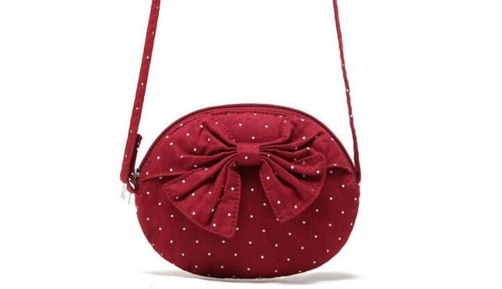 5 Pieces/ Lot Polka Dot Bow Messenger Bag Korean Canvas Shoulder Crossbody Small Bag