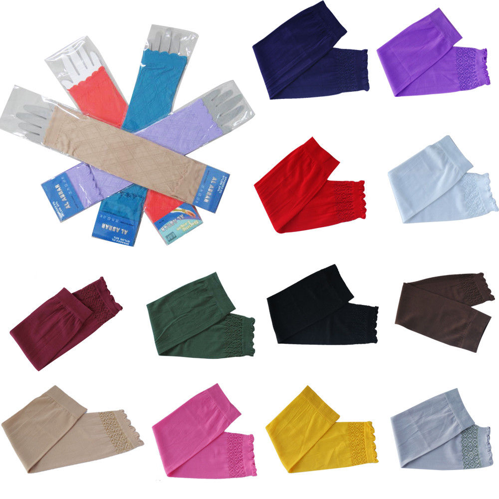 Islamic Muslim Sleeves Gloves Arm Cover Hijab Stretchy Fabric Arab Sleeves New Elastic Sun Protection Arm Warmer Middle East
