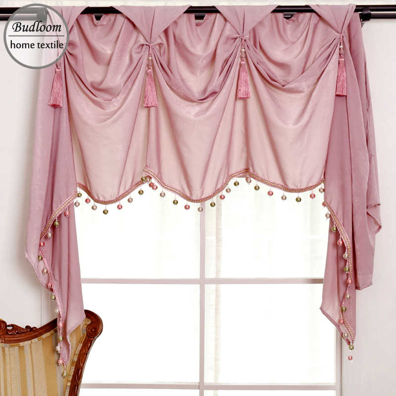 European Style Luxury Valance Curtain For Living Room Pink Silk