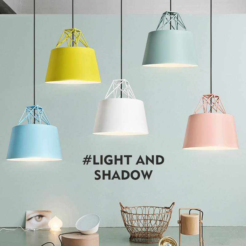 Nordic Restaurant Chandelier Creative Personality Bar Macaroons Multicolor Simple Coffee Shop Dining Room Lamp Free Shipping single head nordic restaurant solid wood chandelier creative bar lamp personality coffee shop lamp livingroom lamp free shipping