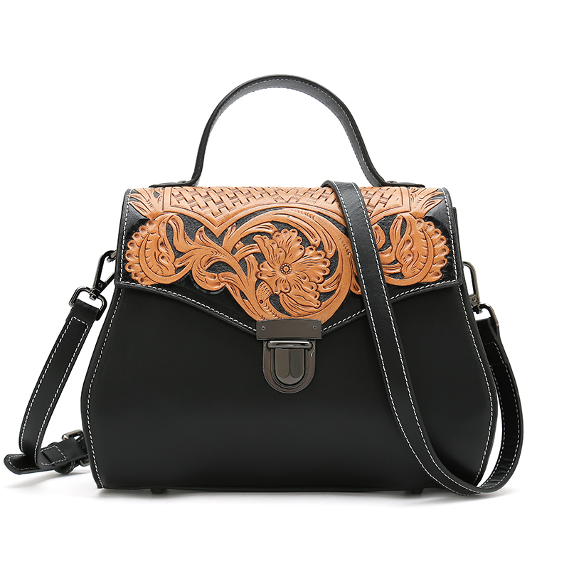 Crossbody Bags Women Bag Designer Handbags High Quality Hand Carve Vintage Flower Ladies Women Messenger Bag vintage bag designer handbags high quality famous brand tote shoulder ladies hand bag crossbody bags for women messenger bags