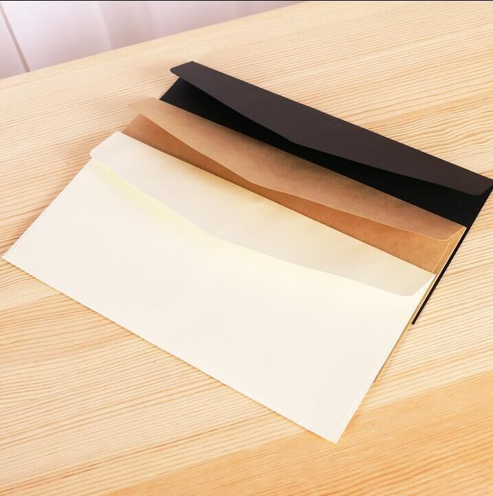 50 Pcs/set Cartoon Kraft Paper Gift Window Envelopes Sobres Kraft Envelopes Size 110*220mm 3 Color Brown Whtie Black