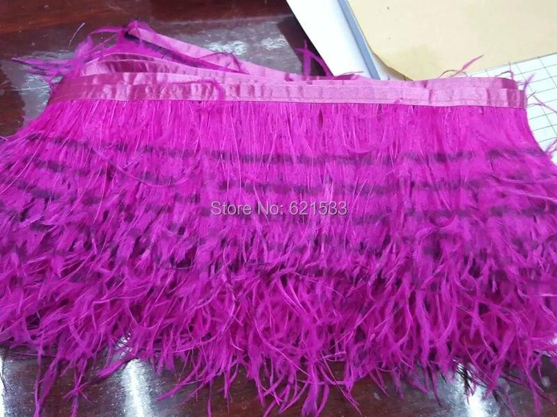 2fdd20733d03 10 м много! 5-6 дюйм(ов) высота! Vogue страуса бахрома, печати и  окрашивания перо страуса отделка, розовый и черный, высокого качества