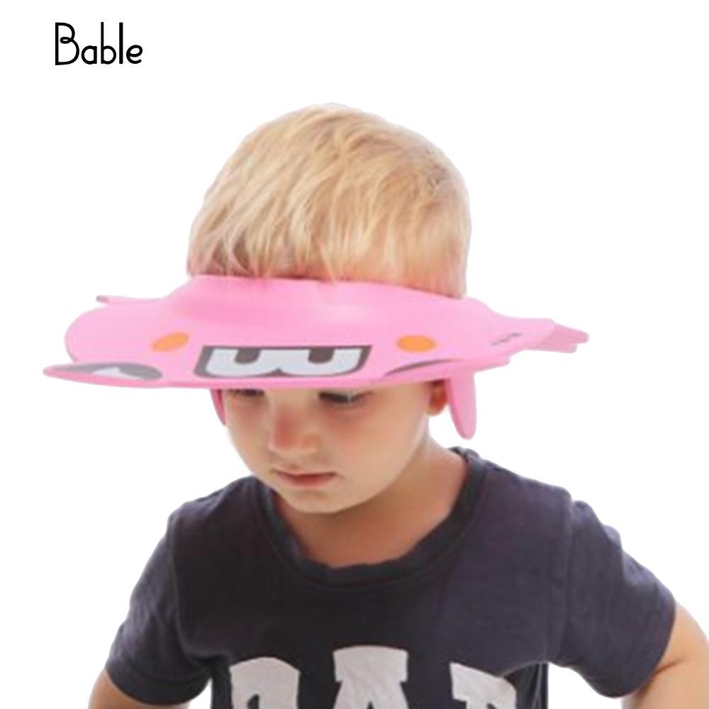 Детская шапочка для душа с защитными ушами, детские шапки, прочные - Цвет: pink